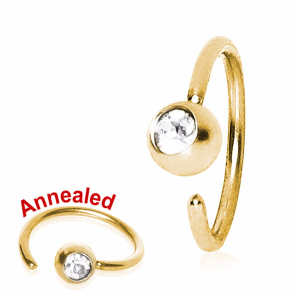 Gold Plated Annealed Press Fit CZ Ball Nose Hoop-WildKlass Jewelry