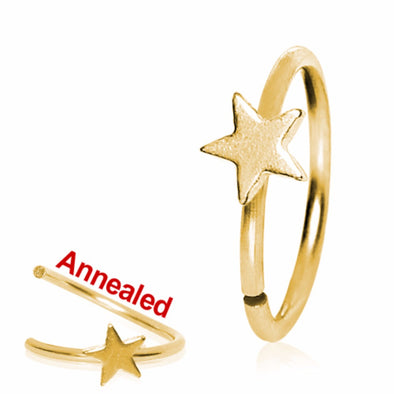 Gold Plated Annealed Star Nose Hoop-WildKlass Jewelry