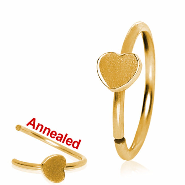 Gold Plated Annealed Heart Nose Hoop-WildKlass Jewelry