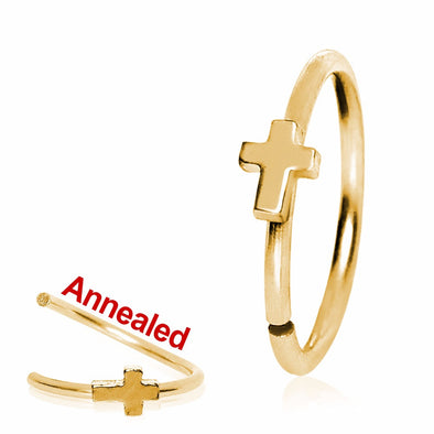Gold Plated Annealed Cross Nose Hoop-WildKlass Jewelry
