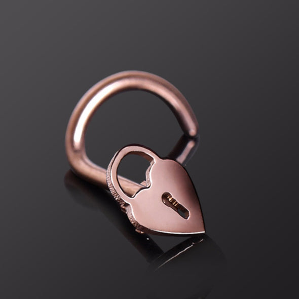 Rose Gold Plated Nose Screw with Heart Lock-WildKlass Jewelry