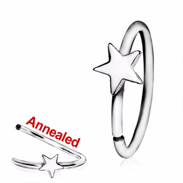 316L Surgical Steel Annealed Star Nose Hoop-WildKlass Jewelry