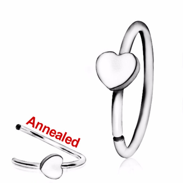 316L Surgical Steel Annealed Heart Nose Hoop-WildKlass Jewelry
