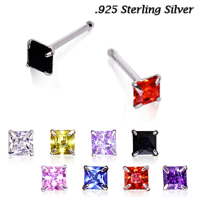 Stainless Steel Prong Set Princess Cut CZ Nose Bone-WildKlass Jewelry