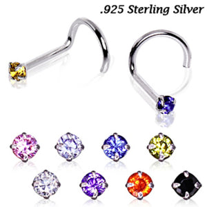 .925 Sterling Silver Prong Set Round CZ Nose Screw-WildKlass Jewelry