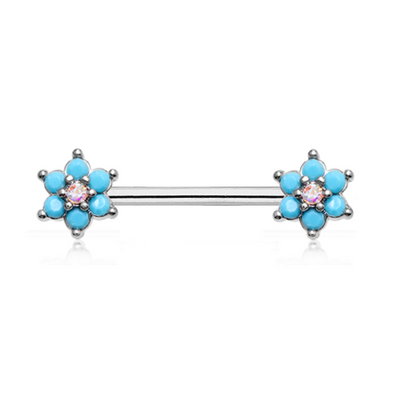 Turquoise Spring Flower Sparkle Prong Set WildKlass Nipple Barbell Ring-WildKlass Jewelry