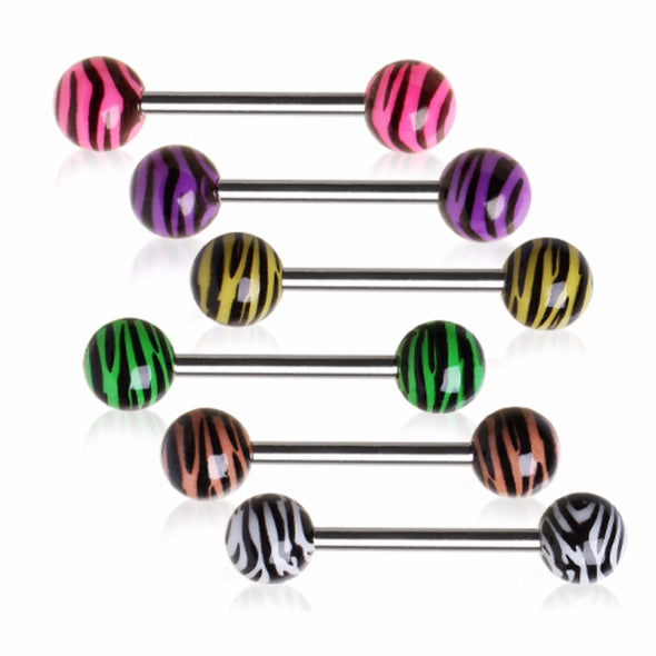 316L Surgical Steel Nipple Bar with UV Coated Zebra Print Balls-WildKlass Jewelry