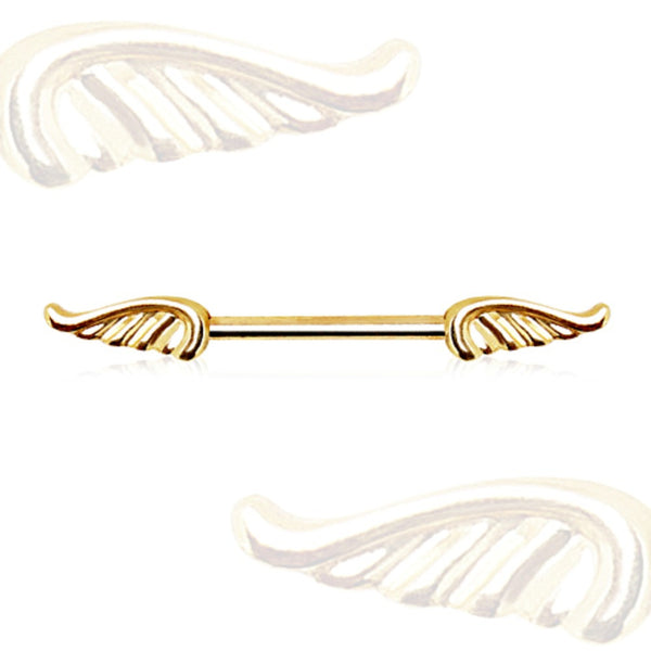 Gold Plated Nipple Bar with Wings-WildKlass Jewelry
