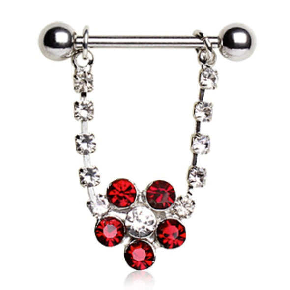 316L Surgical Steel Nipple Ring with Flower-WildKlass Jewelry