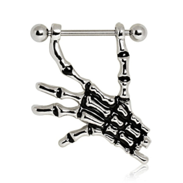 316L Surgical Steel Nipple Ring with Skeleton Hand-WildKlass Jewelry