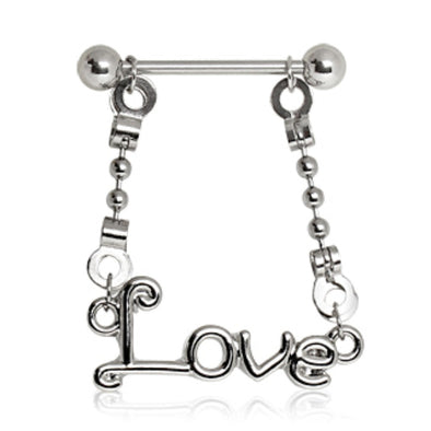 316L Surgical Steel Nipple Ring with Love Dangle-WildKlass Jewelry