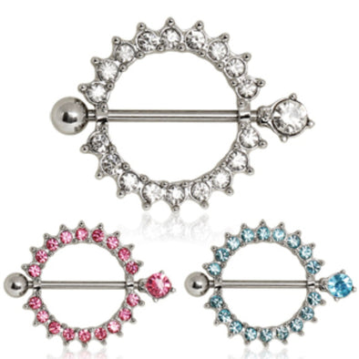 316L Surgical Steel Nipple Ring with Multi CZ Ring-WildKlass Jewelry