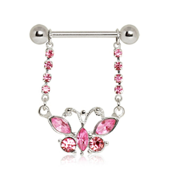 316L Surgical Steel Pink Butterfly Nipple Ring-WildKlass Jewelry