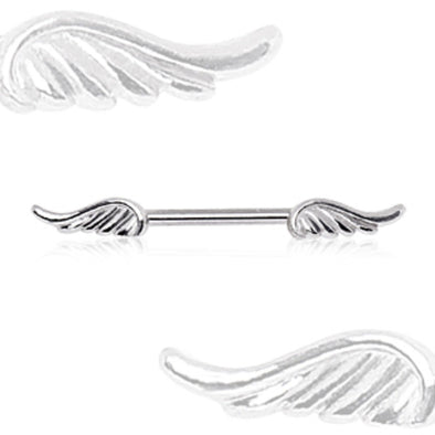 316L Surgical Steel Nipple Bar with Wings-WildKlass Jewelry