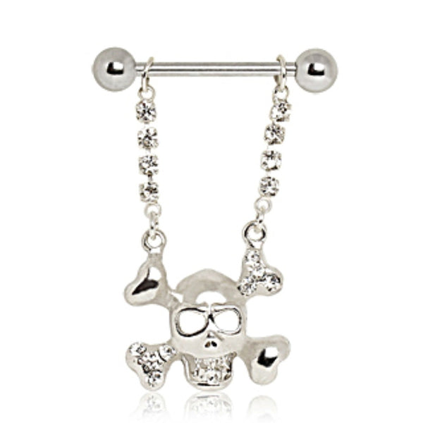 316L Surgical Steel Skull and Crossbones Nipple Ring-WildKlass Jewelry