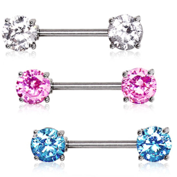 316L Surgical Steel Prong Set Round CZ Nipple Bar-WildKlass Jewelry
