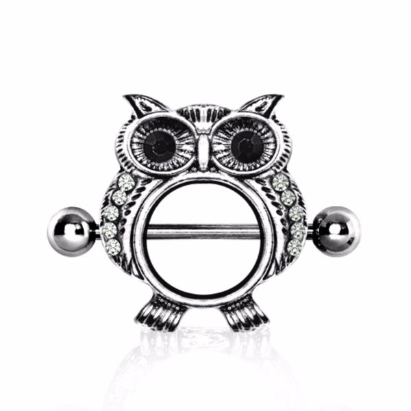 316L Surgical Steel Jeweled Owl Nipple Shield-WildKlass Jewelry