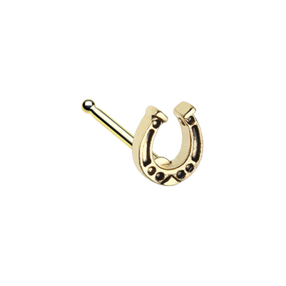 Golden Good Luck Horseshoe WildKlass Nose Stud Ring-WildKlass Jewelry