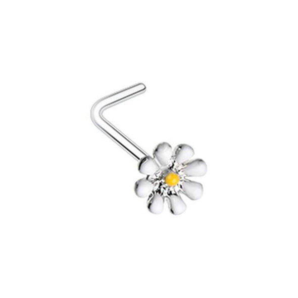 Dainty Daisy Enamel WildKlass L-Shape Nose Ring-WildKlass Jewelry