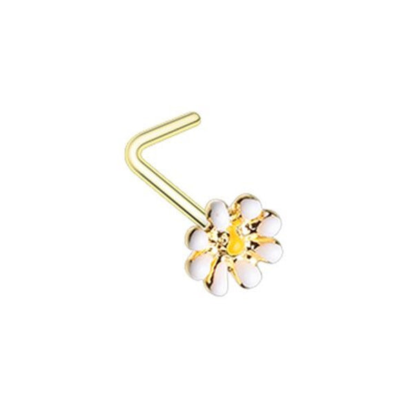 Golden Dainty Daisy Enamel WildKlass L-Shape Nose Ring-WildKlass Jewelry
