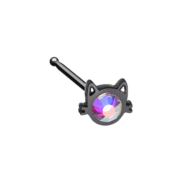 Black Iridescent Cat Silhouette Face WildKlass Nose Stud Ring-WildKlass Jewelry
