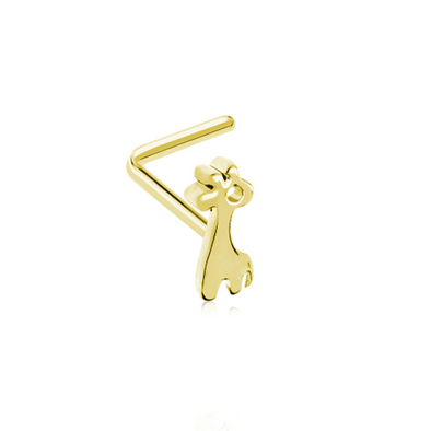 Golden Dainty Baby Giraffe Calf WildKlass L-Shape Nose Ring-WildKlass Jewelry