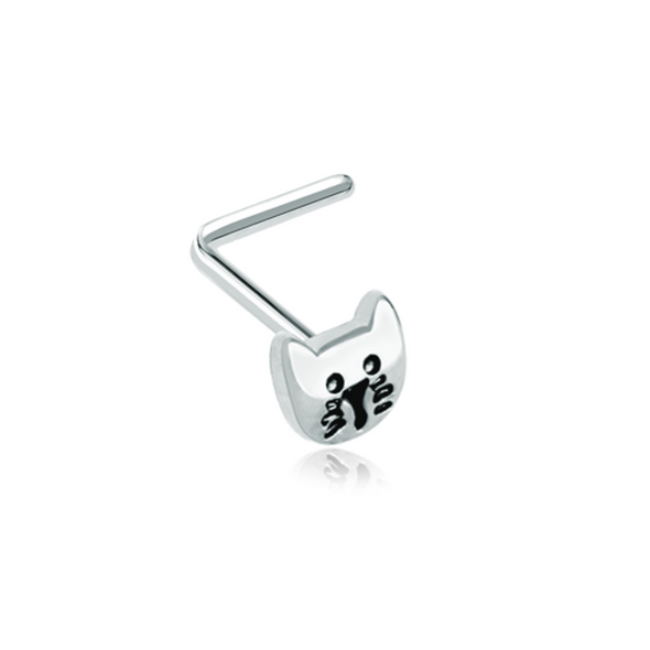 Kitty Cat Face WildKlass L-Shape Nose Ring-WildKlass Jewelry