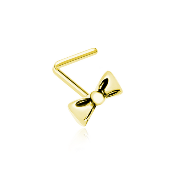 Golden Cutesy Bow-Tie WildKlass L-Shape Nose Ring-WildKlass Jewelry