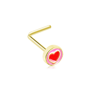 Golden Valentine Sailor Heart WildKlass L-Shape Nose Ring-WildKlass Jewelry