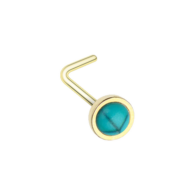 Golden Bezel Set Synthetic Turquoise Stone WildKlass L-Shape Nose Ring-WildKlass Jewelry