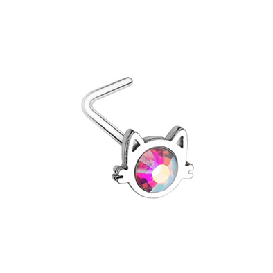 Iridescent Cat Silhouette Face WildKlass L-Shape Nose Ring-WildKlass Jewelry