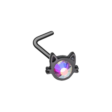 Black Iridescent Cat Silhouette Face WildKlass L-Shape Nose Ring-WildKlass Jewelry