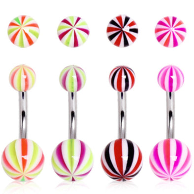 UV Acrylic Candy Striped Navel Ring-WildKlass Jewelry