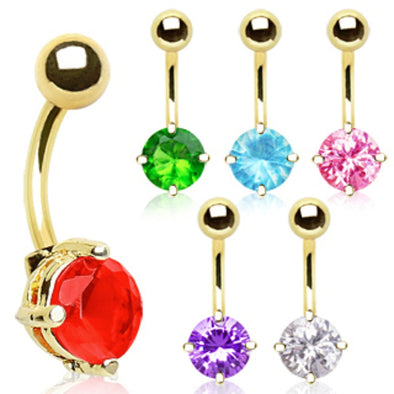 Gold Plated Prong Set 8mm Round CZ Navel Ring-WildKlass Jewelry