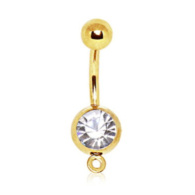 Gold Plated Press Fit CZ Navel Ring with a Ring to Attach Dangle-WildKlass Jewelry