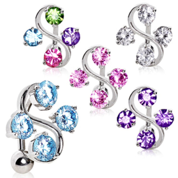 316L Surgical Steel Top Down Navel Ring with Four Round CZs on Vine-WildKlass Jewelry