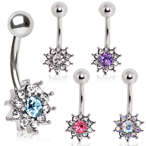 316L Surgical Steel Multi CZ Flower Navel Ring-WildKlass Jewelry