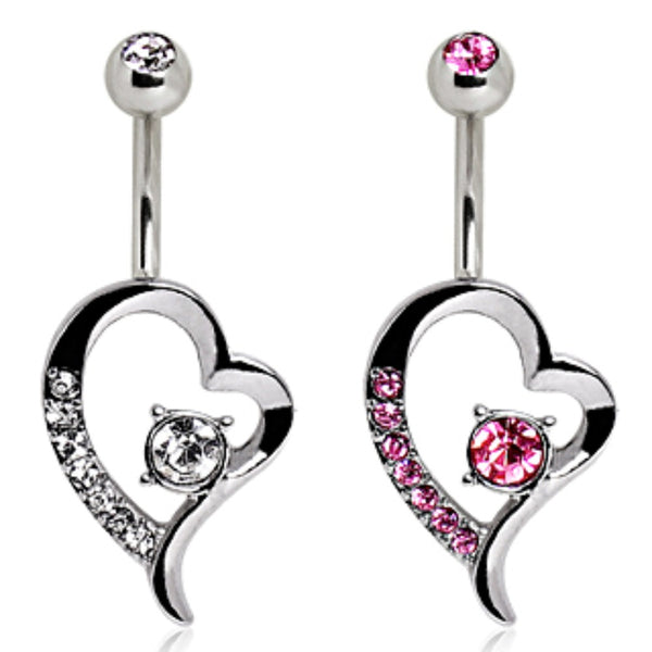 316L Surgical Steel Floating Heart Navel Ring-WildKlass Jewelry