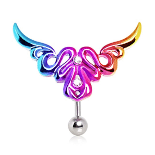 316L Surgical Steel Top Down Rainbow Tribal Logo Navel Ring - Style 3-WildKlass Jewelry