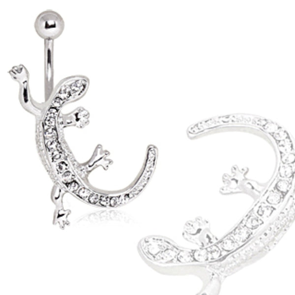 316L Surgical Steel CZ Paved Lizard Navel Ring-WildKlass Jewelry