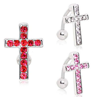 316L Surgical Steel Top Down Cross Navel Ring-WildKlass Jewelry