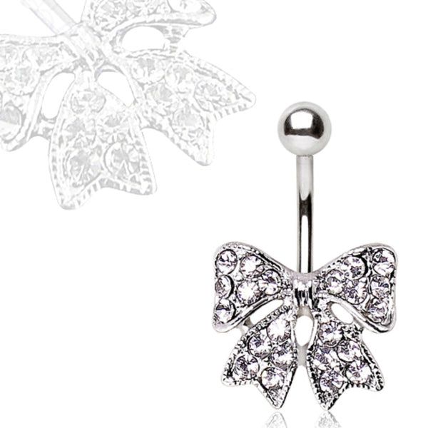 316L Navel Ring with CZ Ribbon Bow-WildKlass Jewelry