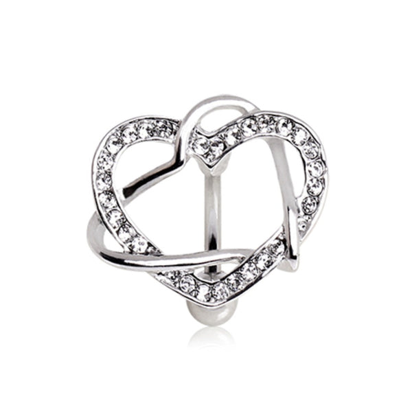 316L Surgical Steel Intertwined Hearts Top Down Navel Ring-WildKlass Jewelry