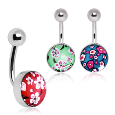 316L Surgical Steel Cherry Blossom Navel Ring-WildKlass Jewelry