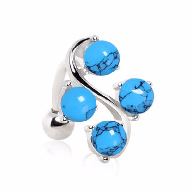 316L Surgical Steel Top Down Navel Ring with Four Round Turquoise on Vine-WildKlass Jewelry