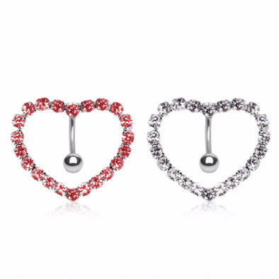 316L Surgical Steel Prong-Set Gemmed Heart Top Down Navel Ring-WildKlass Jewelry