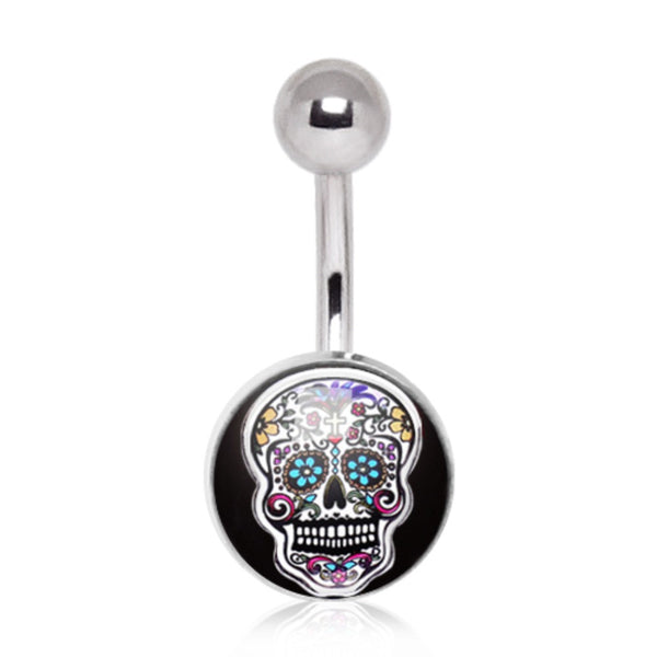 316L Surgical Steel Intricate Sugar Skull Navel Ring-WildKlass Jewelry