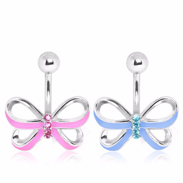 316L Surgical Steel Enamel Ribbon Bow with Gem Detail Navel Ring-WildKlass Jewelry
