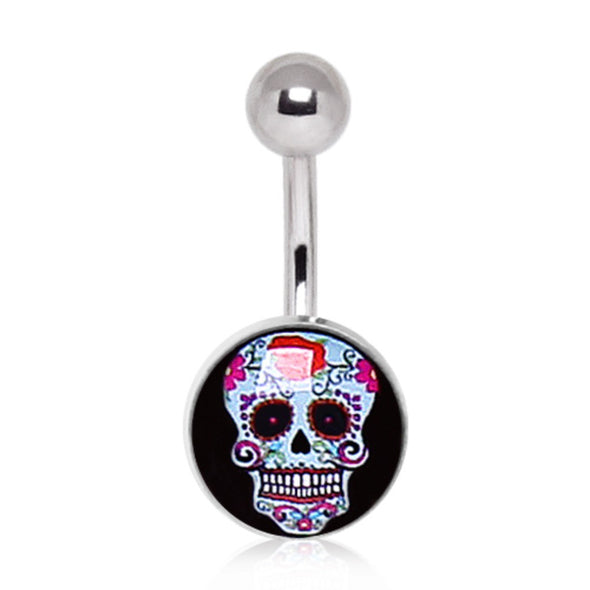 316L Surgical Steel Pale Blue Sugar Skull Navel Ring-WildKlass Jewelry