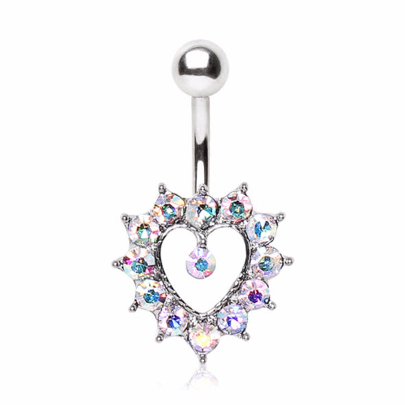 316L Surgical Steel Navel Ring with Aurora Borealis CZ Heart-WildKlass Jewelry